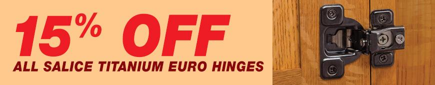 Save on Salice Titanium Euro Hinges